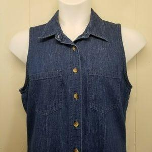 Lands' End Dresses - Lands End 12R Blue Jean Dress Jumper Sleeveless